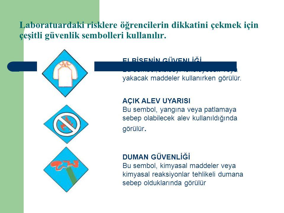 Laboratuardaki risklere öğrencilerin dikkatini çekmek için çeşitli güvenlik sembolleri kullanılır.