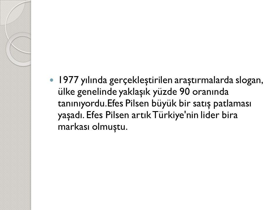 1977 yılında gerçekleştirilen araştırmalarda slogan, ülke genelinde yaklaşık yüzde 90 oranında tanınıyordu.Efes Pilsen büyük bir satış patlaması yaşadı. Efes Pilsen artık Türkiye nin lider bira markası olmuştu.