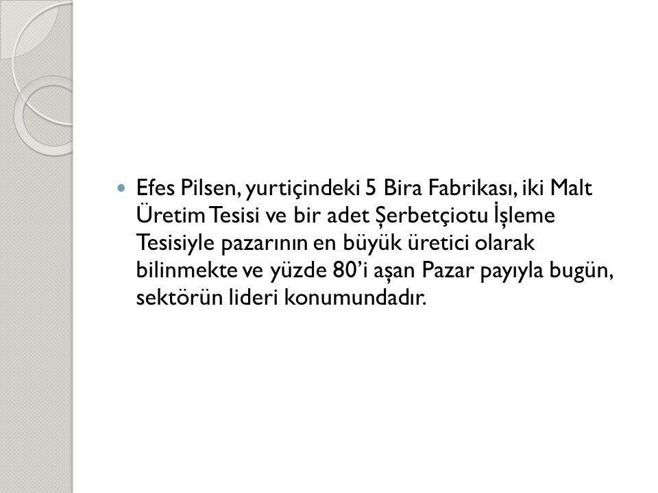Efes Pilsen, yurtiçindeki 5 Bira Fabrikası, iki Malt Üretim Tesisi ve bir adet Şerbetçiotu İşleme Tesisiyle pazarının en büyük üretici olarak bilinmekte ve yüzde 80'i aşan Pazar payıyla bugün, sektörün lideri konumundadır.