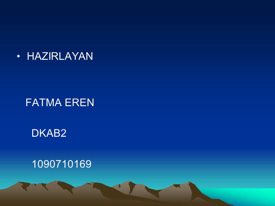 HAZIRLAYAN FATMA EREN DKAB2 1090710169
