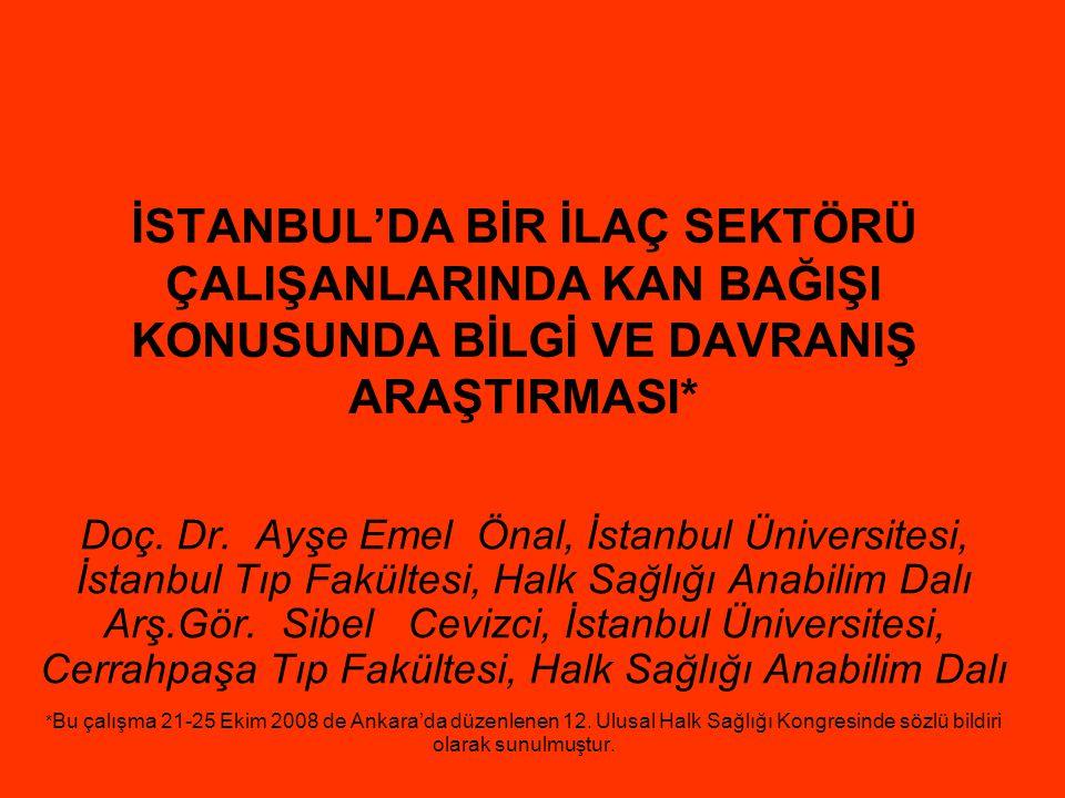İSTANBUL'DA BİR İLAÇ SEKTÖRÜ ÇALIŞANLARINDA KAN BAĞIŞI KONUSUNDA BİLGİ VE DAVRANIŞ ARAŞTIRMASI*