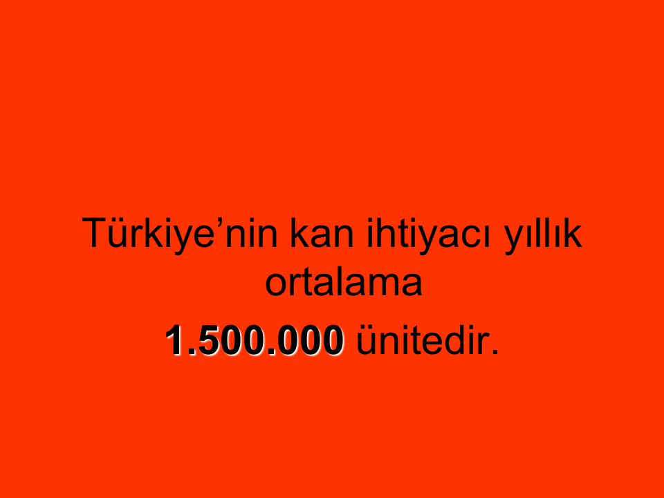 Türkiye'nin kan ihtiyacı yıllık ortalama