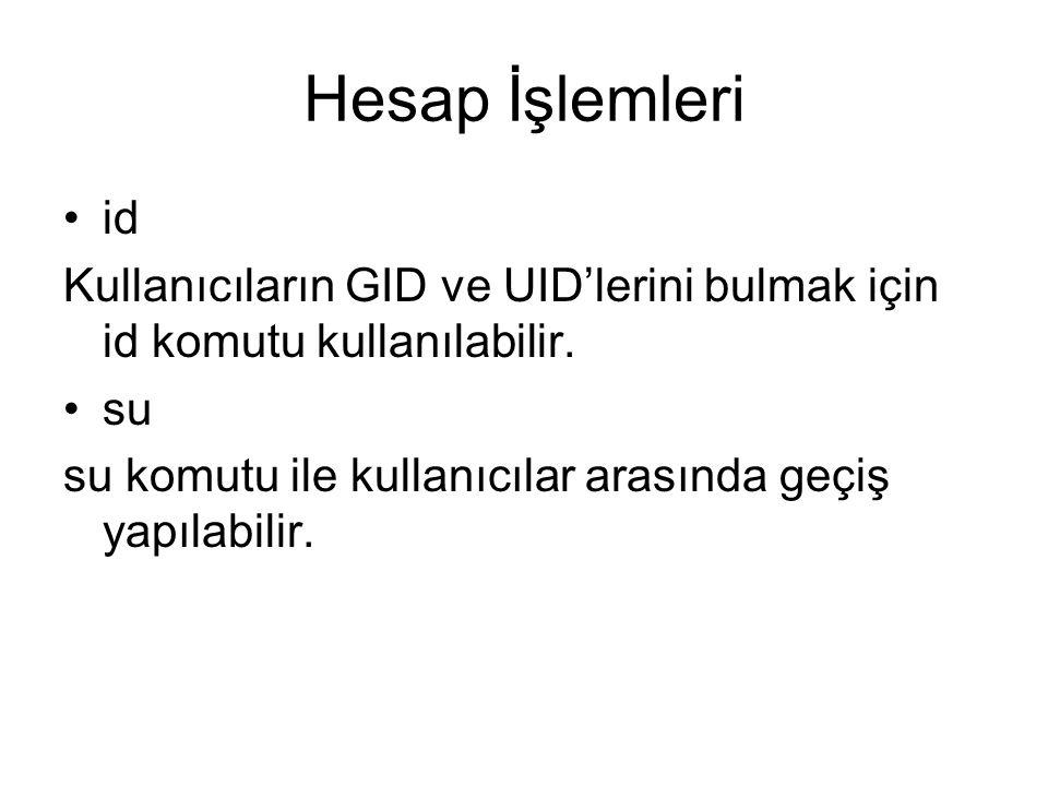 Hesap İşlemleri id. Kullanıcıların GID ve UID'lerini bulmak için id komutu kullanılabilir. su.