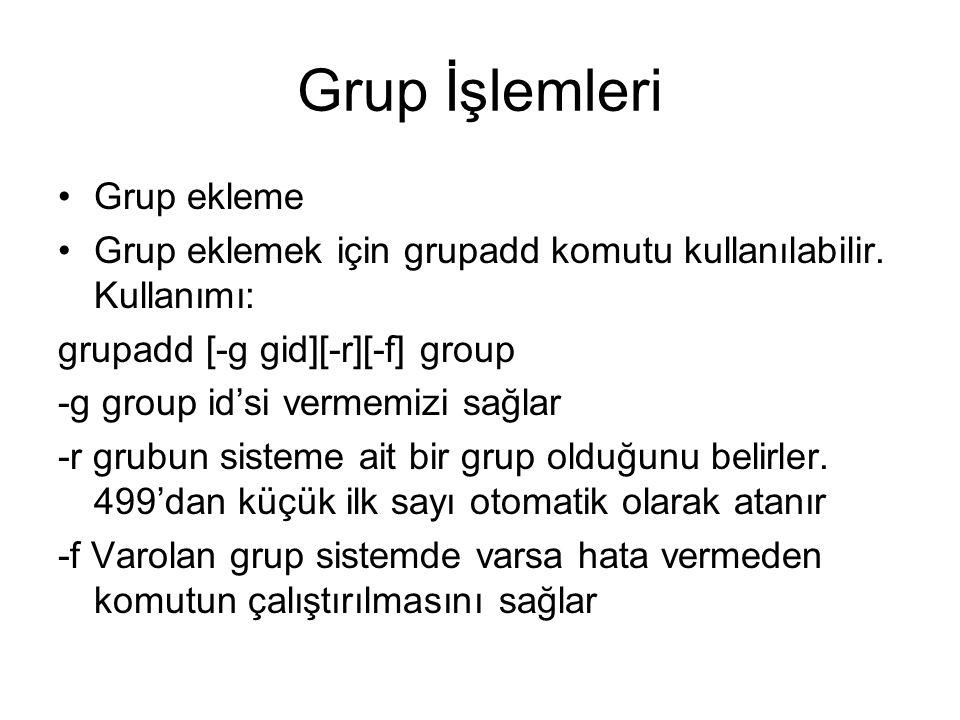 Grup İşlemleri Grup ekleme