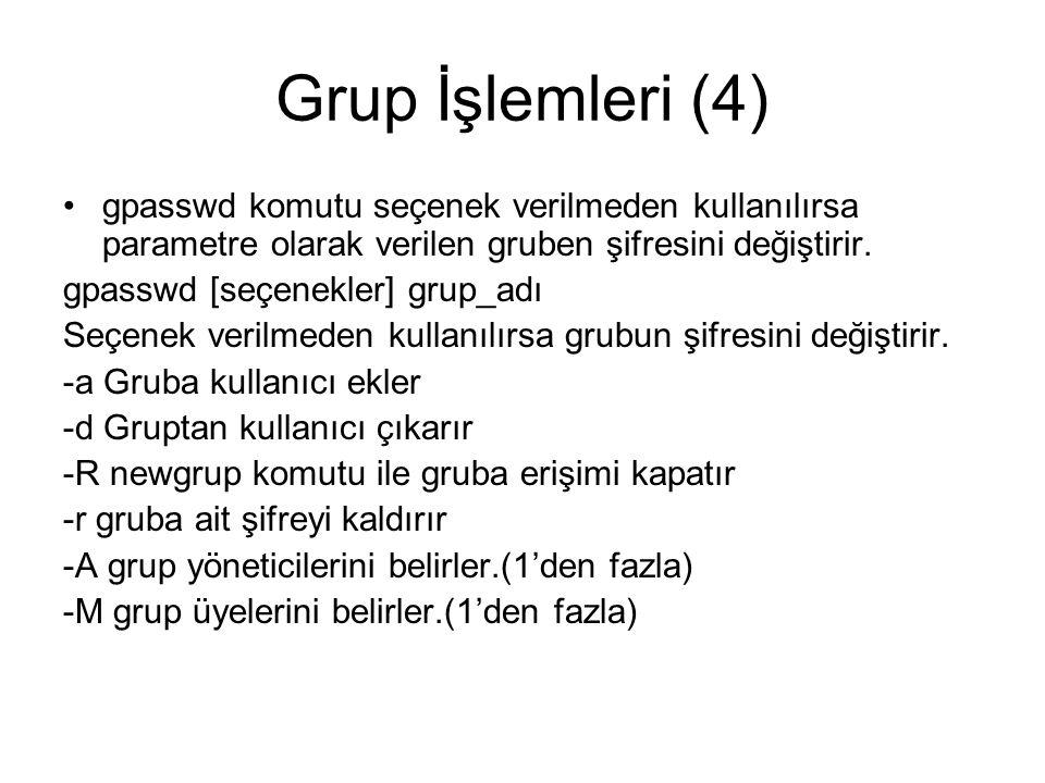Grup İşlemleri (4) gpasswd komutu seçenek verilmeden kullanılırsa parametre olarak verilen gruben şifresini değiştirir.