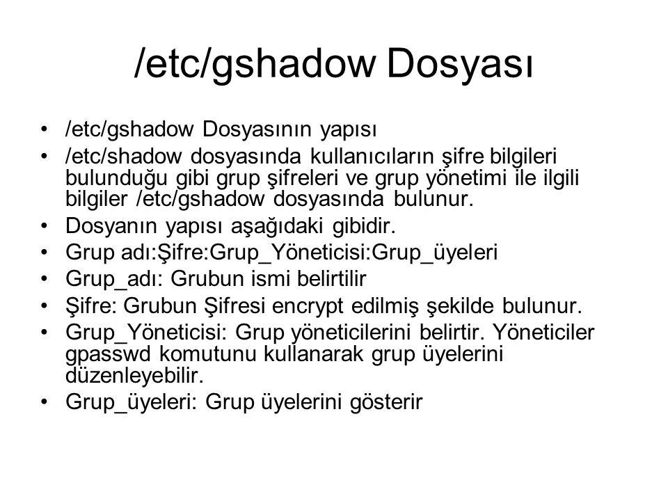 /etc/gshadow Dosyası /etc/gshadow Dosyasının yapısı