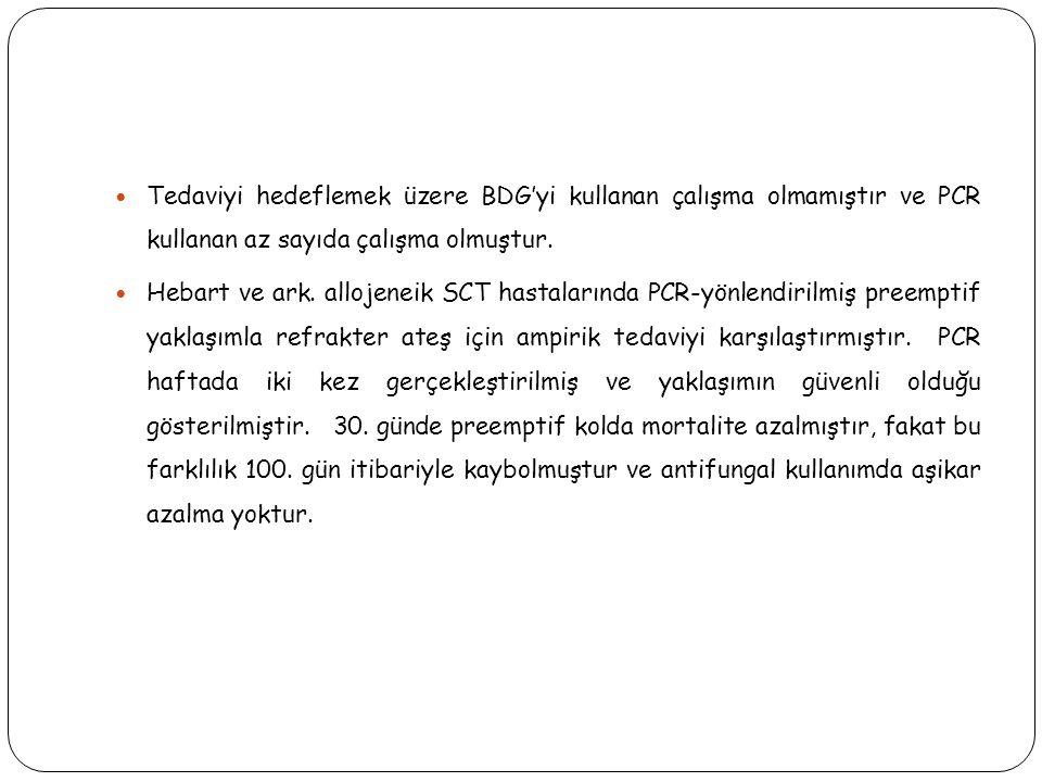 Tedaviyi hedeflemek üzere BDG'yi kullanan çalışma olmamıştır ve PCR kullanan az sayıda çalışma olmuştur.