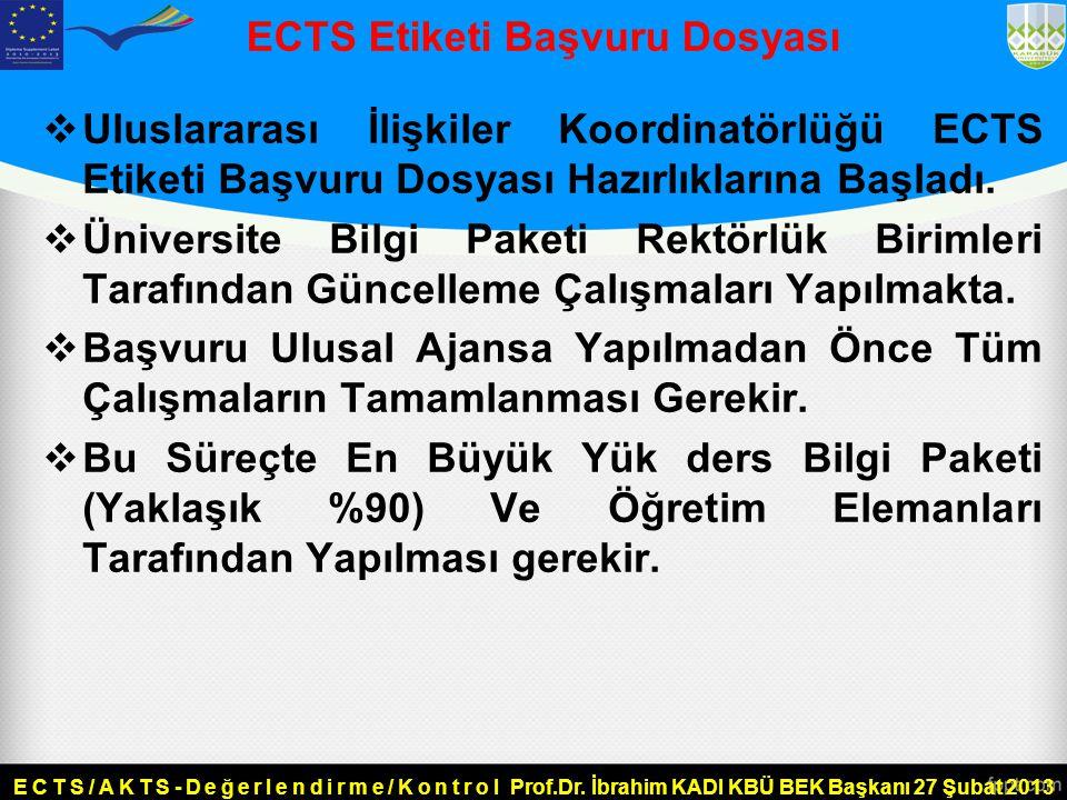 ECTS Etiketi Başvuru Dosyası