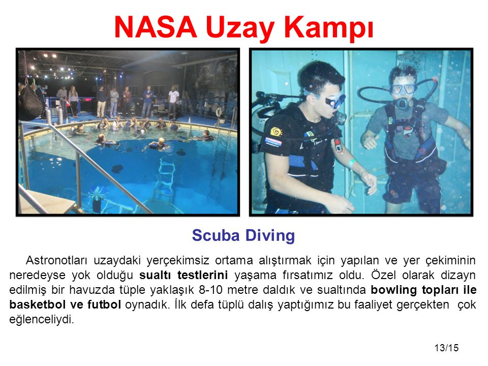 NASA Uzay Kampı Scuba Diving