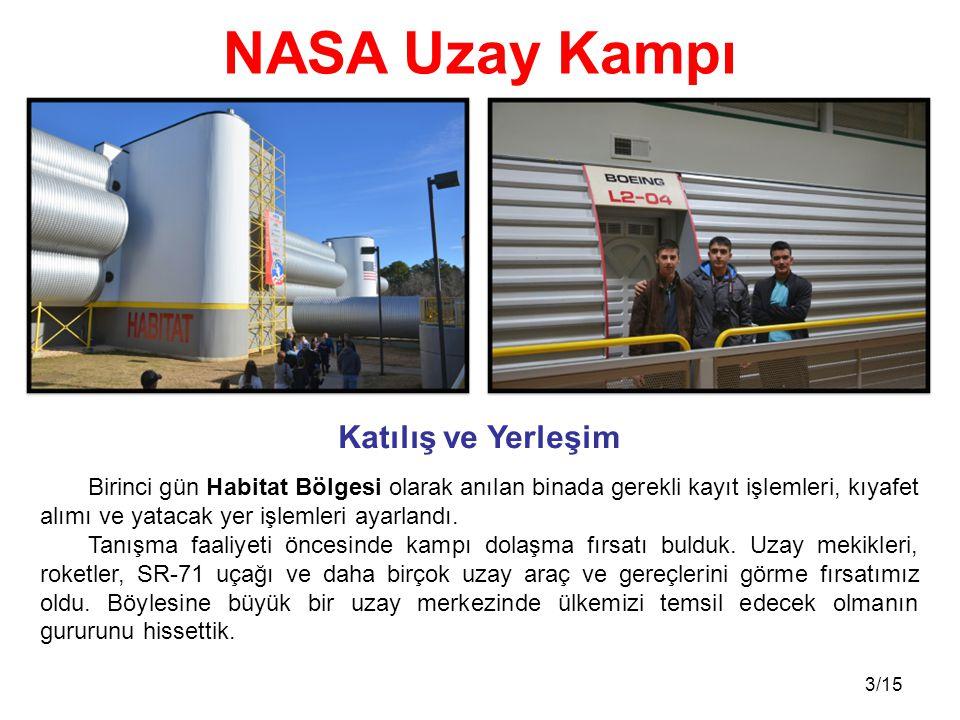 NASA Uzay Kampı Katılış ve Yerleşim