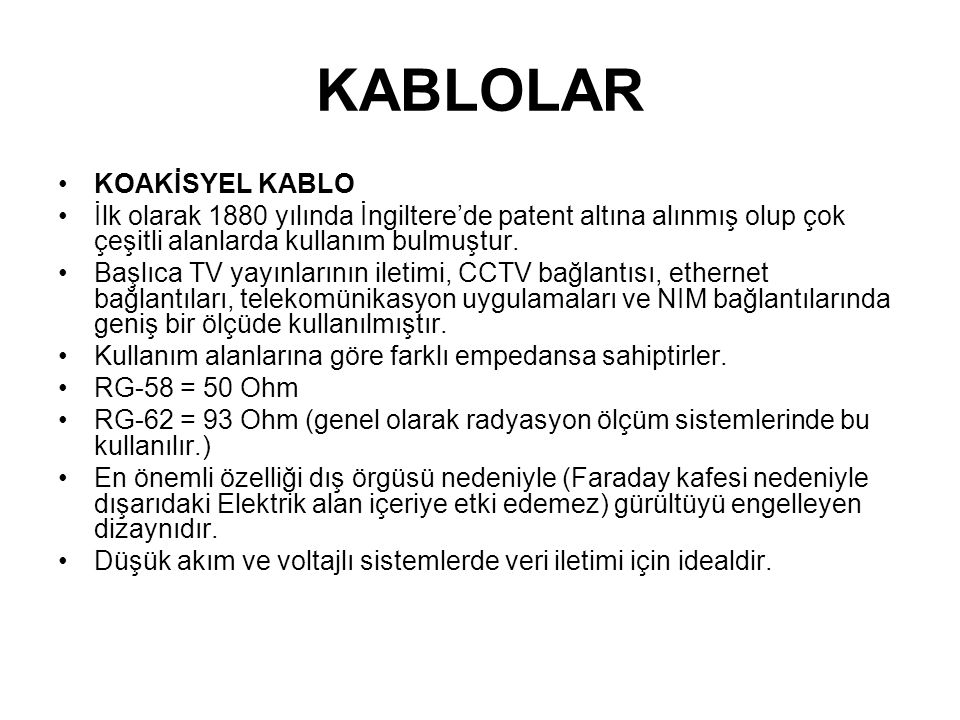 KABLOLAR KOAKİSYEL KABLO