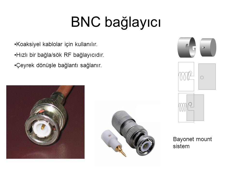 BNC bağlayıcı Koaksiyel kablolar için kullanılır.