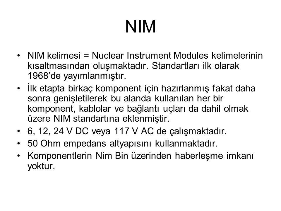 NIM NIM kelimesi = Nuclear Instrument Modules kelimelerinin kısaltmasından oluşmaktadır. Standartları ilk olarak 1968'de yayımlanmıştır.