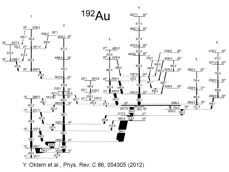 192Au Y. Oktem et al., Phys. Rev. C 86, 054305 (2012)