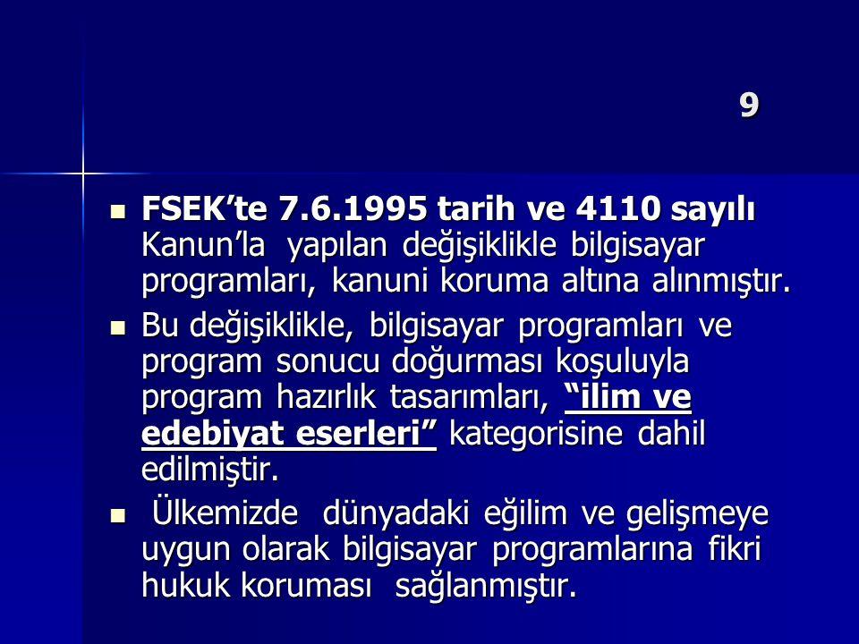 9 FSEK'te 7.6.1995 tarih ve 4110 sayılı Kanun'la yapılan değişiklikle bilgisayar programları, kanuni koruma altına alınmıştır.