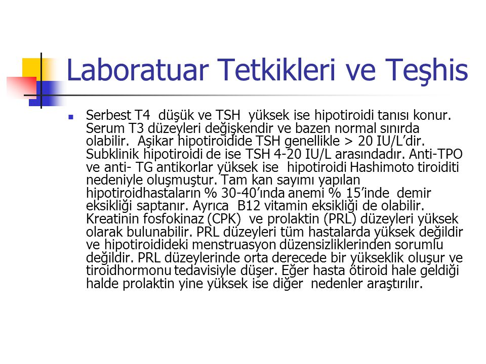 Laboratuar Tetkikleri ve Teşhis