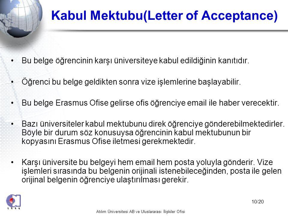 Kabul Mektubu(Letter of Acceptance)