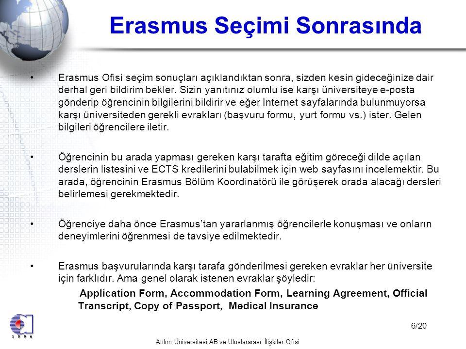 Erasmus Seçimi Sonrasında