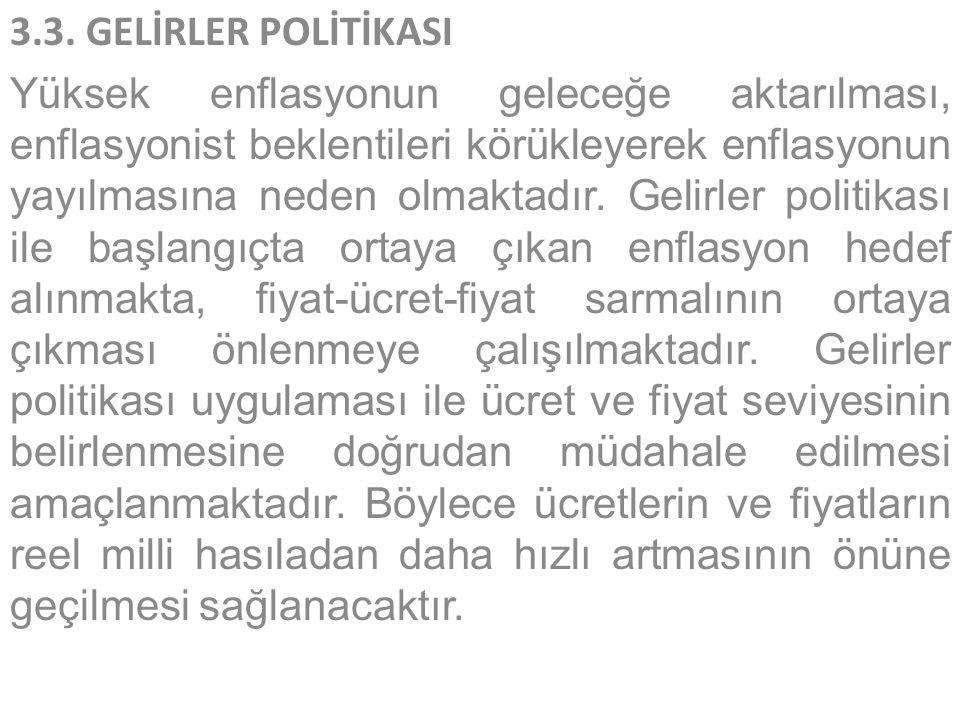 3.3. GELİRLER POLİTİKASI
