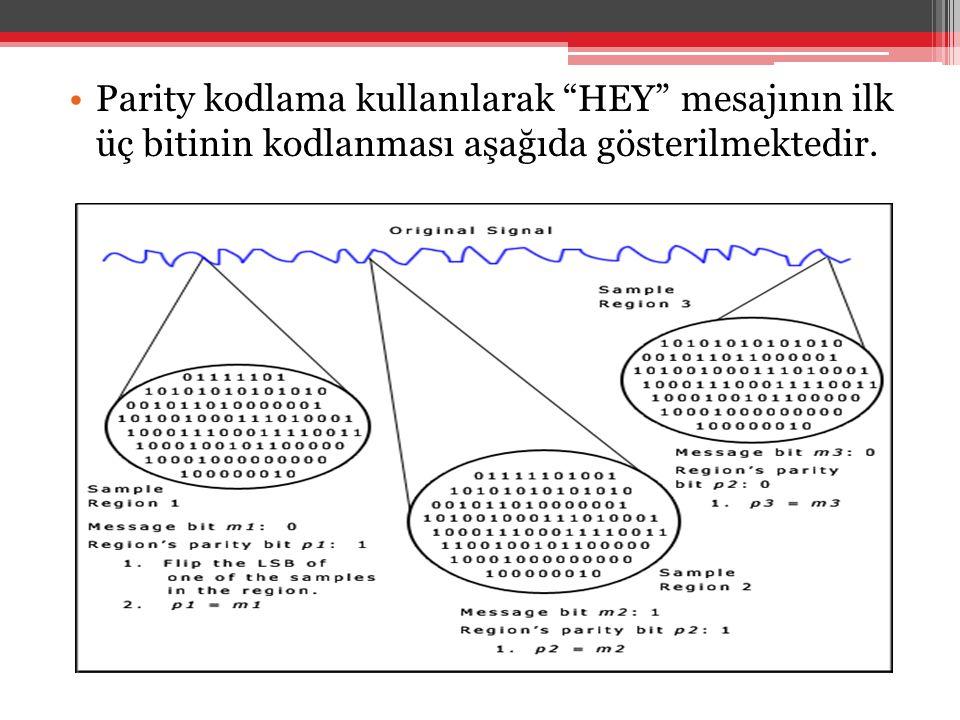 Parity kodlama kullanılarak HEY mesajının ilk üç bitinin kodlanması aşağıda gösterilmektedir.