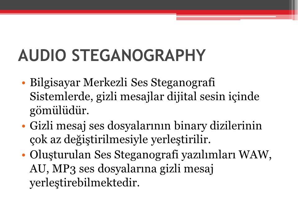 AUDIO STEGANOGRAPHY Bilgisayar Merkezli Ses Steganografi Sistemlerde, gizli mesajlar dijital sesin içinde gömülüdür.
