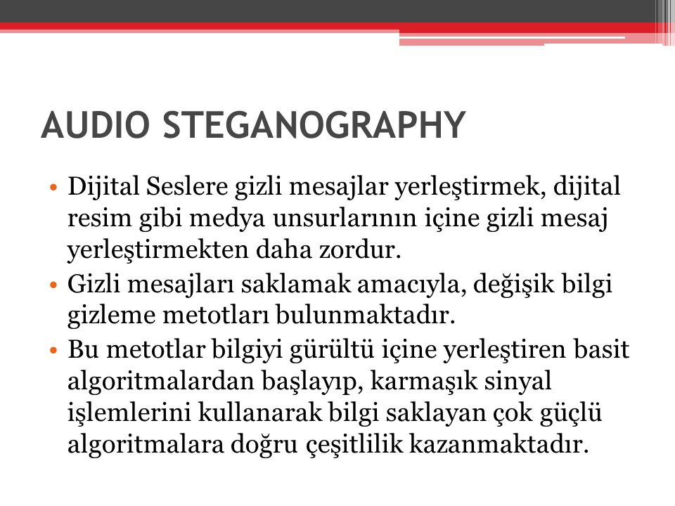 AUDIO STEGANOGRAPHY