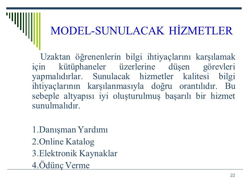 MODEL-SUNULACAK HİZMETLER