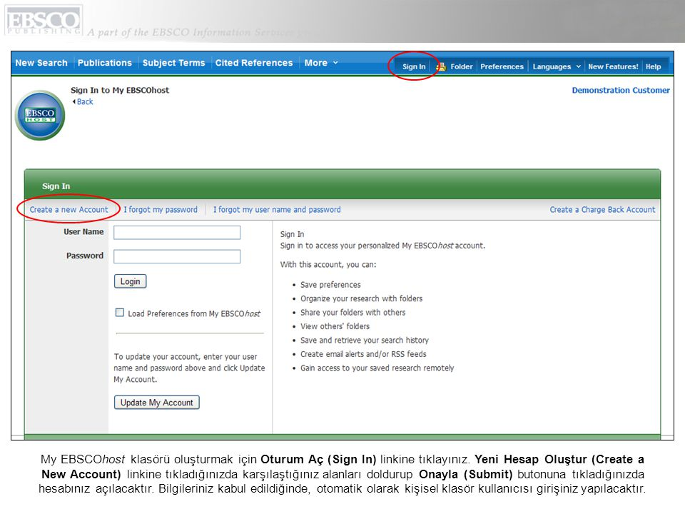 My EBSCOhost klasörü oluşturmak için Oturum Aç (Sign In) linkine tıklayınız.