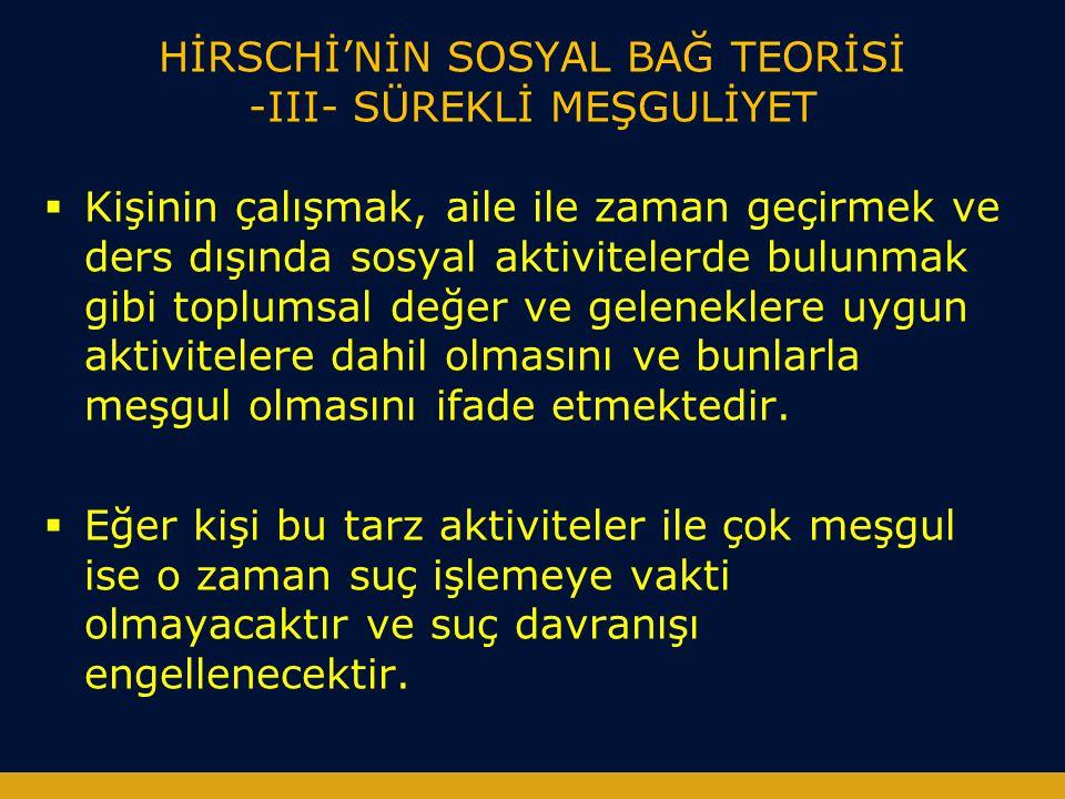 HİRSCHİ'NİN SOSYAL BAĞ TEORİSİ -III- SÜREKLİ MEŞGULİYET