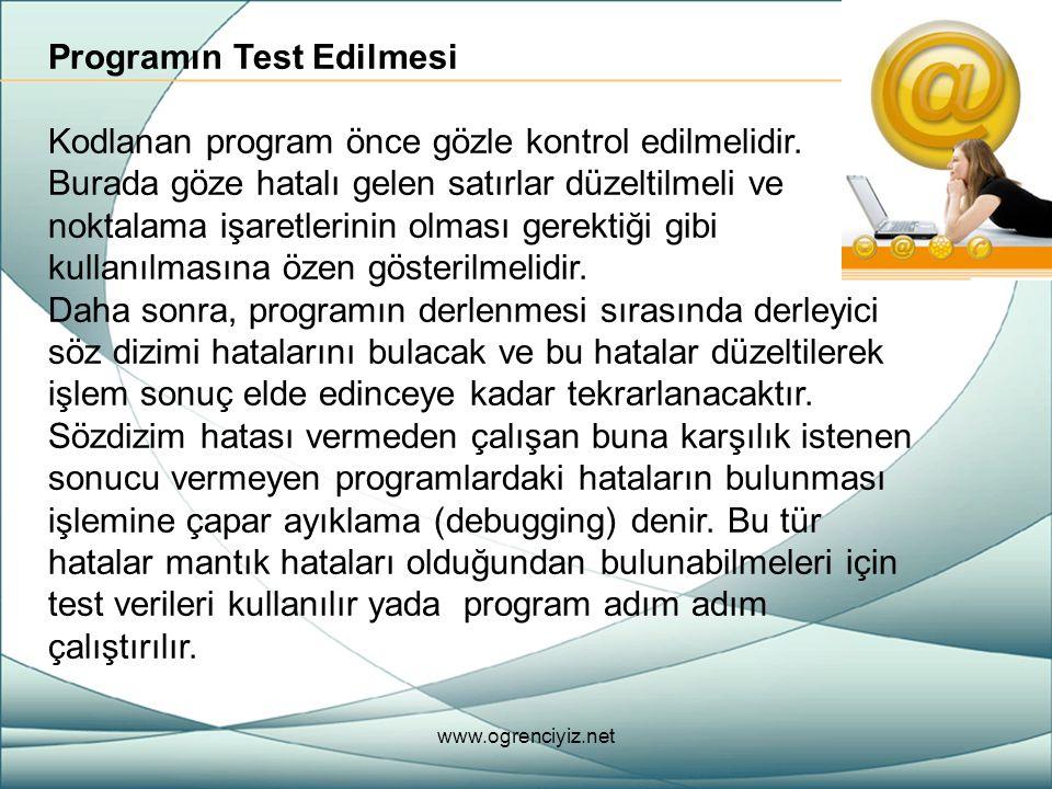 Programın Test Edilmesi