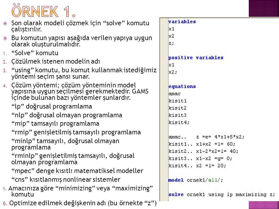 ÖRNEK 1. Son olarak modeli çözmek için solve komutu çalıştırılır.