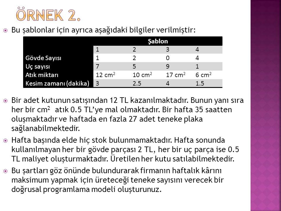 ÖRNEK 2. Bu şablonlar için ayrıca aşağıdaki bilgiler verilmiştir: