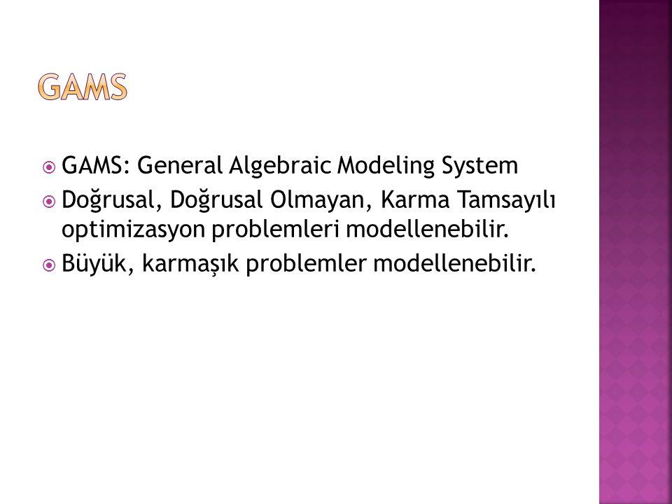 GAMS GAMS: General Algebraic Modeling System
