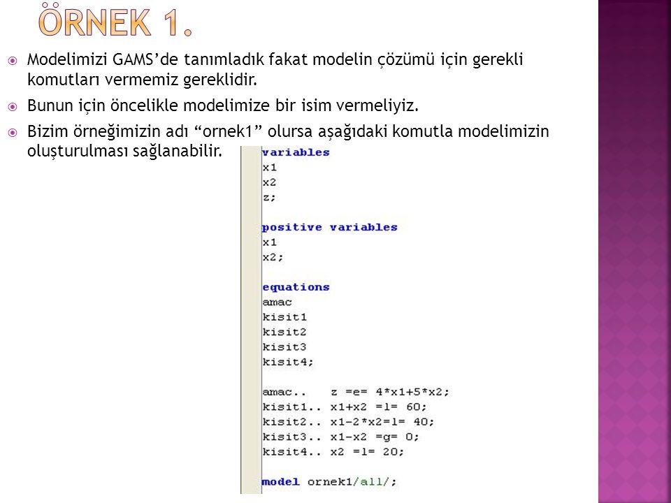 ÖRNEK 1. Modelimizi GAMS'de tanımladık fakat modelin çözümü için gerekli komutları vermemiz gereklidir.