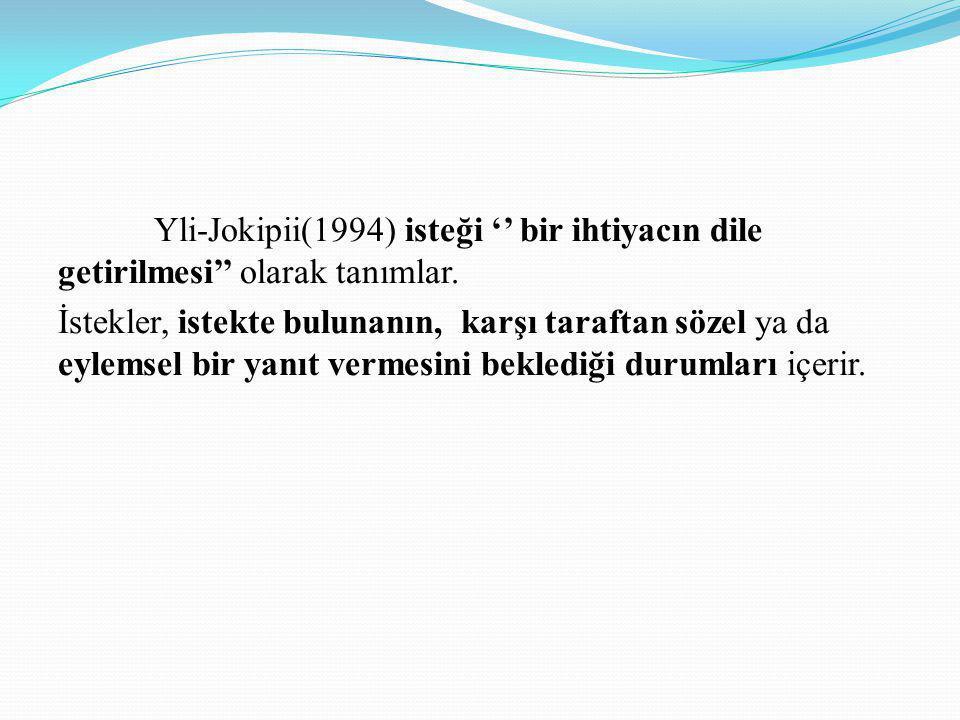 Yli-Jokipii(1994) isteği '' bir ihtiyacın dile getirilmesi'' olarak tanımlar.