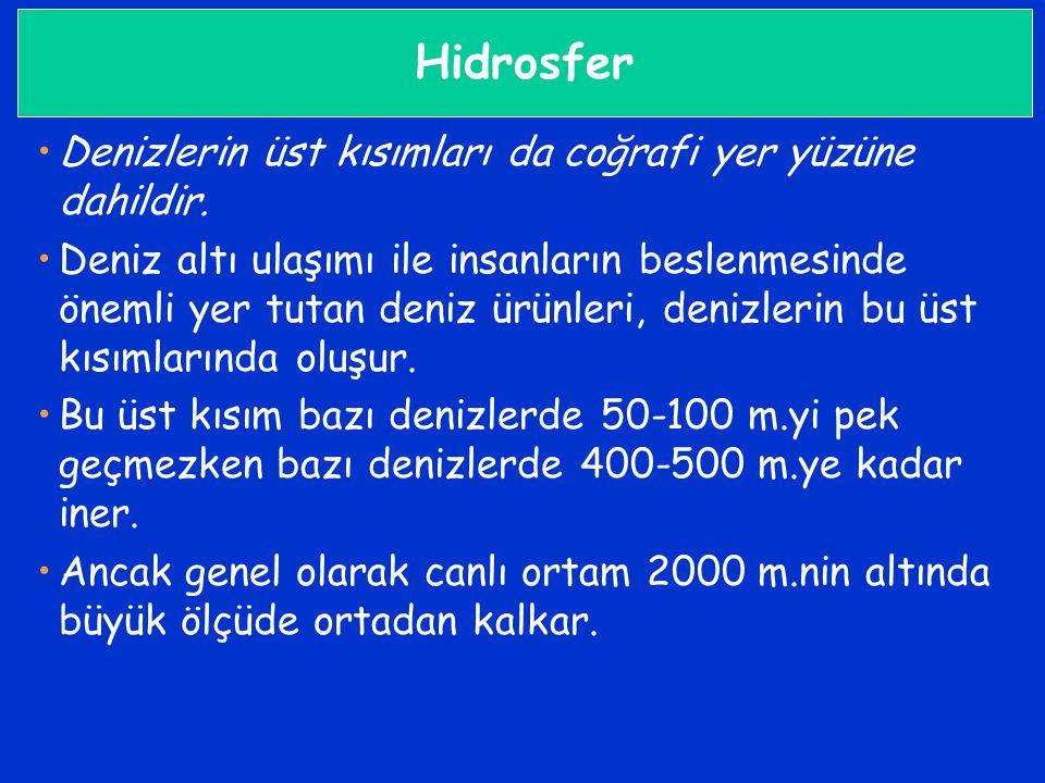 Hidrosfer Denizlerin üst kısımları da coğrafi yer yüzüne dahildir.
