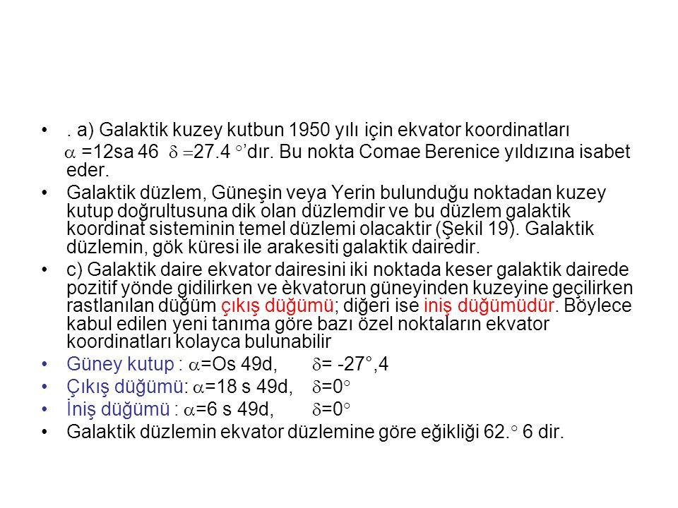 . a) Galaktik kuzey kutbun 1950 yılı için ekvator koordinatları