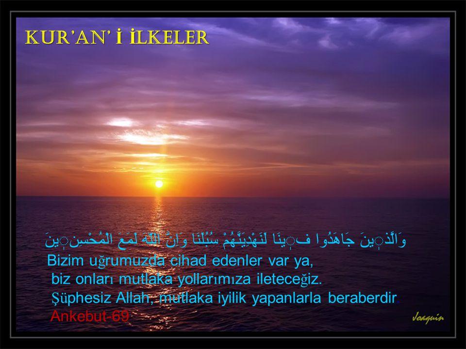 Kur'an' İ İlkeler وَالَّذٖينَ جَاهَدُوا فٖينَا لَنَهْدِيَنَّهُمْ سُبُلَنَا وَاِنَّ اللّٰهَ لَمَعَ الْمُحْسِنٖينَ