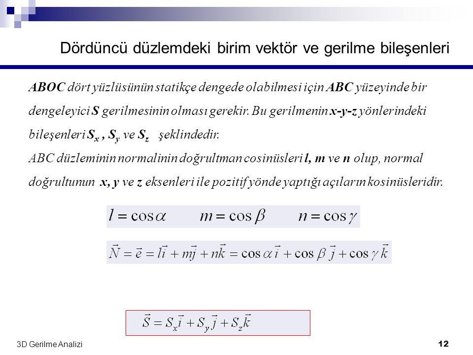 Dördüncü düzlemdeki birim vektör ve gerilme bileşenleri