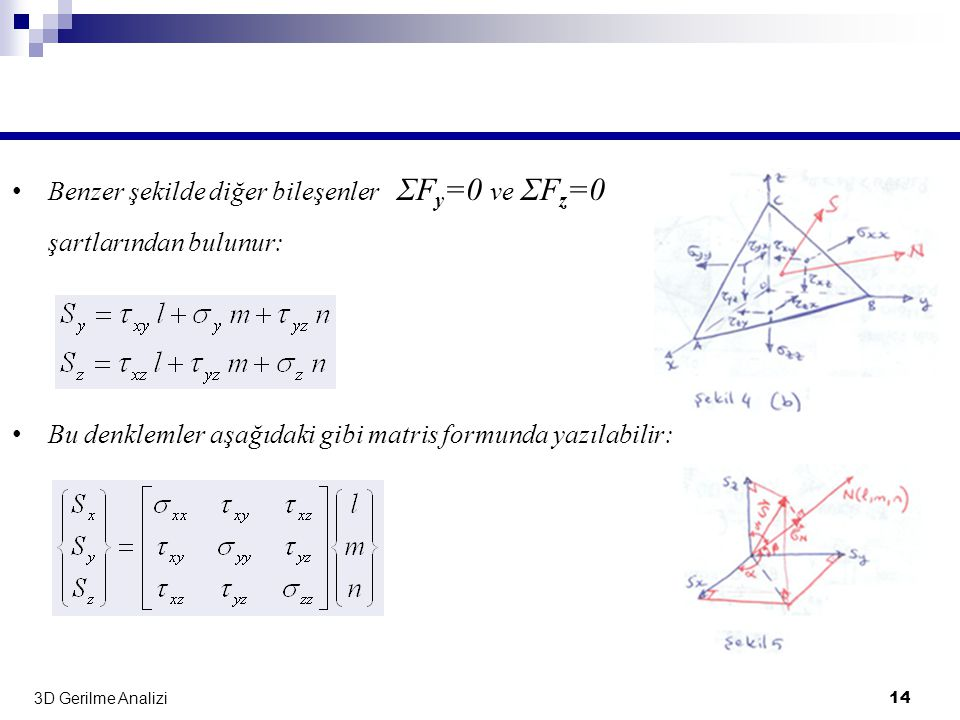 Benzer şekilde diğer bileşenler ΣFy=0 ve ΣFz=0 şartlarından bulunur: