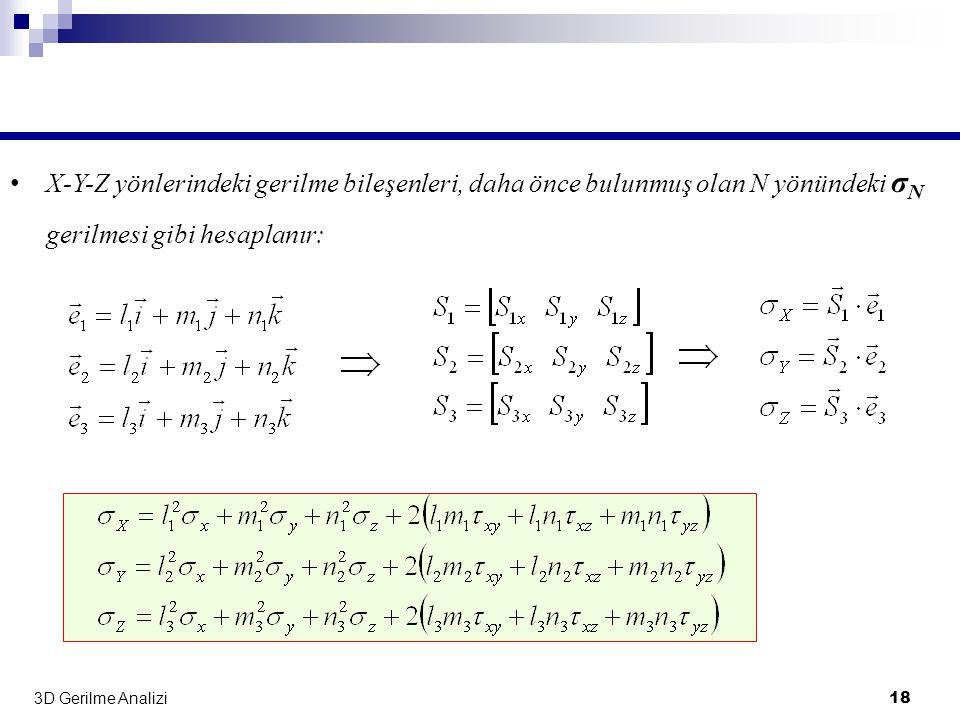 X-Y-Z yönlerindeki gerilme bileşenleri, daha önce bulunmuş olan N yönündeki σN gerilmesi gibi hesaplanır: