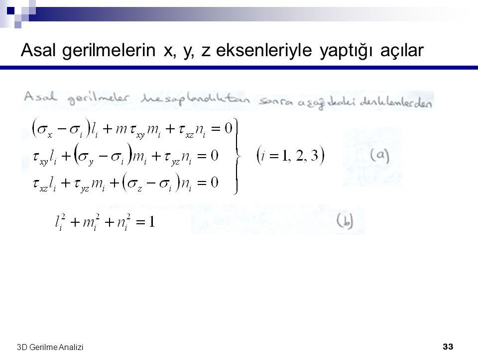Asal gerilmelerin x, y, z eksenleriyle yaptığı açılar