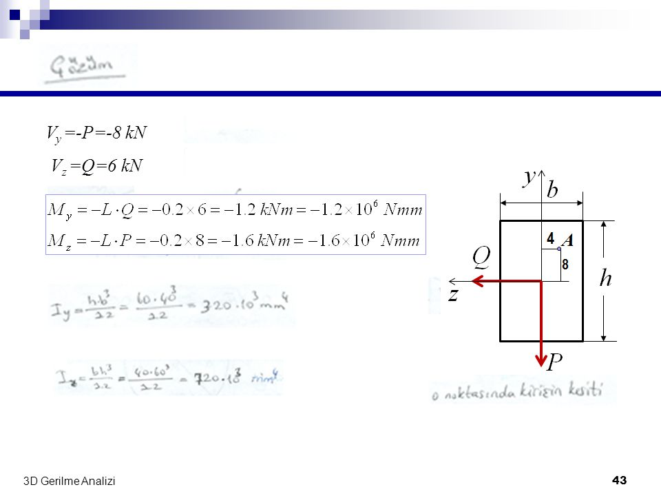 Vy =-P=-8 kN Vz =Q=6 kN 3D Gerilme Analizi