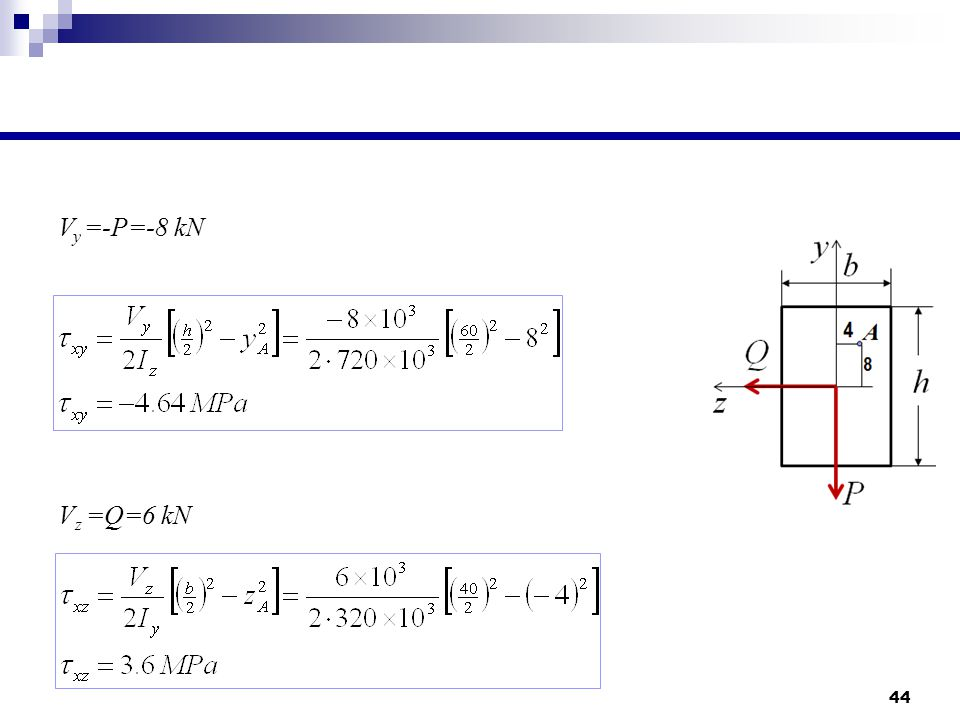 Vy =-P=-8 kN Vz =Q=6 kN