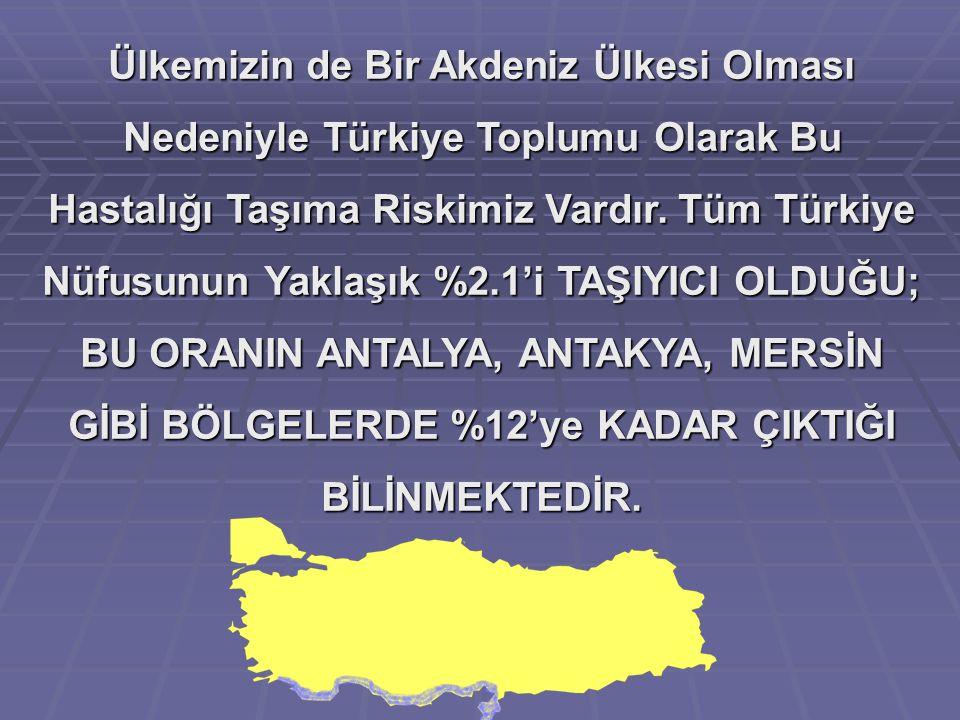 Ülkemizin de Bir Akdeniz Ülkesi Olması Nedeniyle Türkiye Toplumu Olarak Bu Hastalığı Taşıma Riskimiz Vardır.