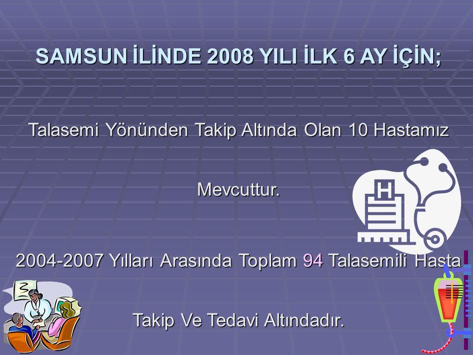 SAMSUN İLİNDE 2008 YILI İLK 6 AY İÇİN;