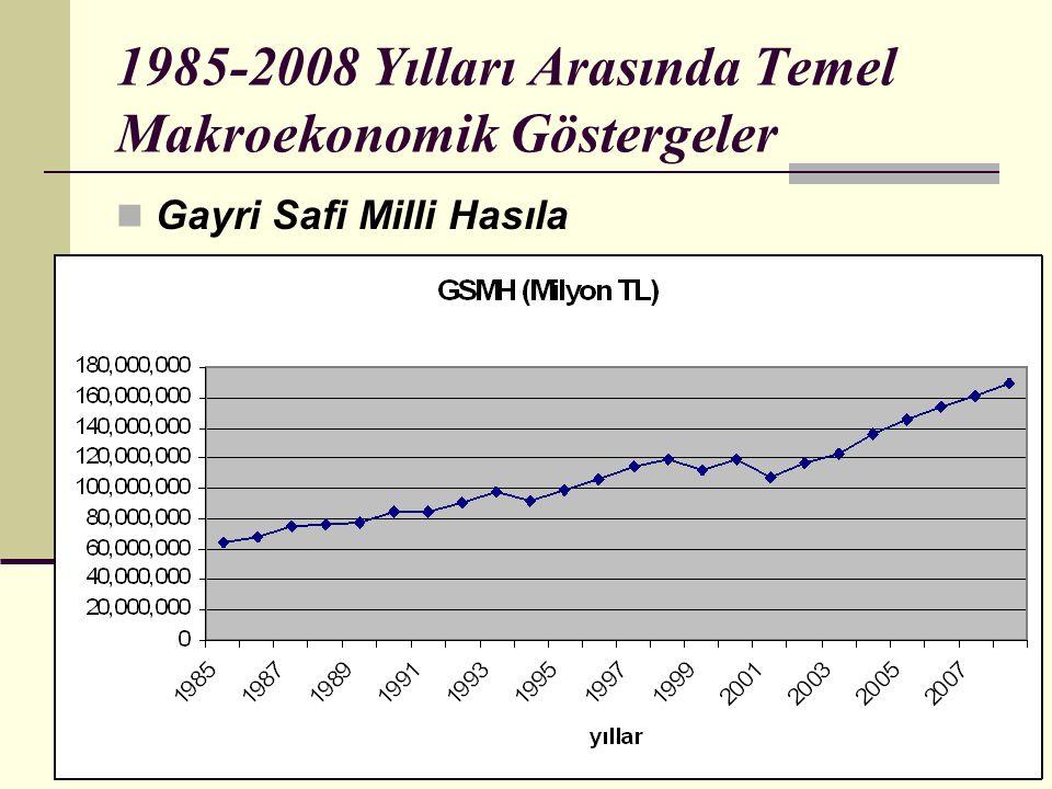 1985-2008 Yılları Arasında Temel Makroekonomik Göstergeler