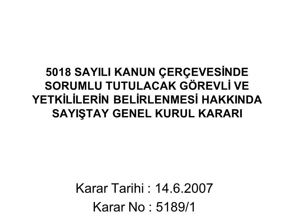 Karar Tarihi : 14.6.2007 Karar No : 5189/1