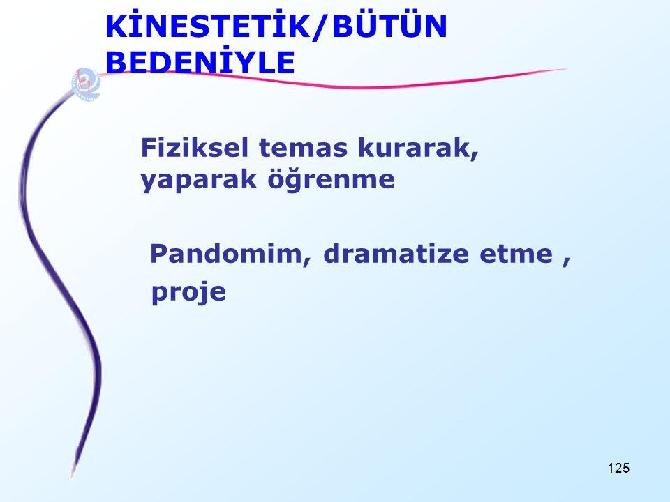 KİNESTETİK/BÜTÜN BEDENİYLE