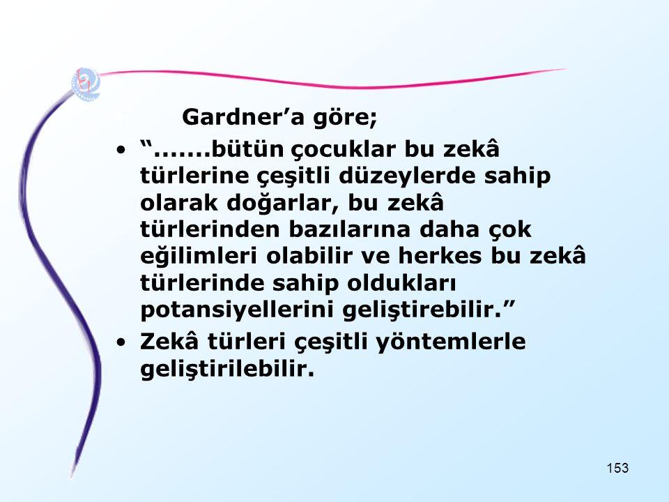 Gardner'a göre;